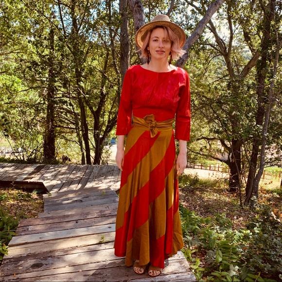 9a5062f61a766 Vintage Dresses | Sale Vtg 30s Color Striped Maxi Couture Dress Sm ...